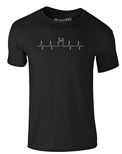 Brand88 - Rock Is In My Heart, Erwachsene Gedrucktes T-Shirt Schwarz/Weiß