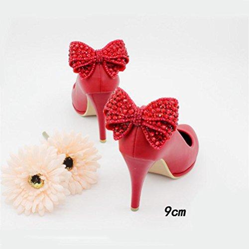Qpyc Zapatos De Novia De Las Mujeres Crystal Bowknot Boda Zapatos De Tacón Delgado Borla De Cuero Genuino Zapatos De Mujer Solo Párrafo Rojo