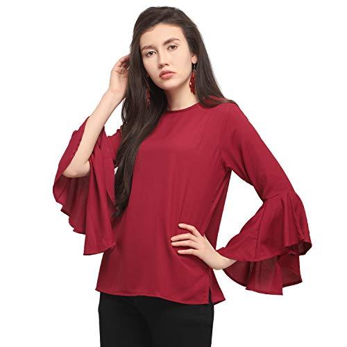 Serein Women's Body Blouse Top (Ser-I-4_Burgundy_Medium)