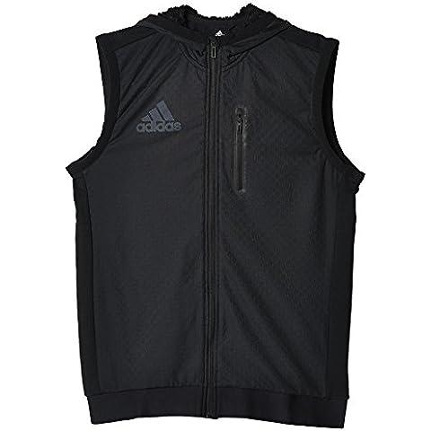 adidas S3 Hooded Vest - Chaleco para hombre, color negro, talla XS