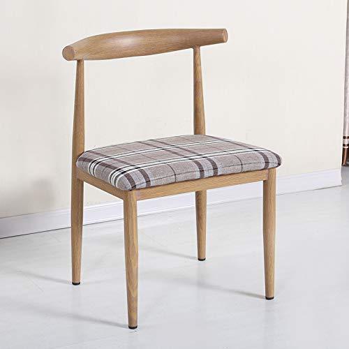 seeksungm Chair, Single imitation wood Horn Chair, Low Carbon Eco-Friendly Restaurant Chair, simple Casual Armchair, Total height 75 cm * Width 47 cm, antique (Light Brown PU cushion)