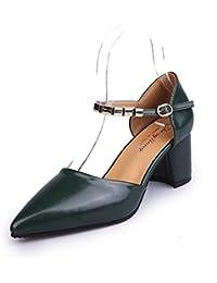 Baotou Paquete con zapatos de mujer elegante y versátil, con gruesos con High-Heeled Tide, Verde Oscuro,34