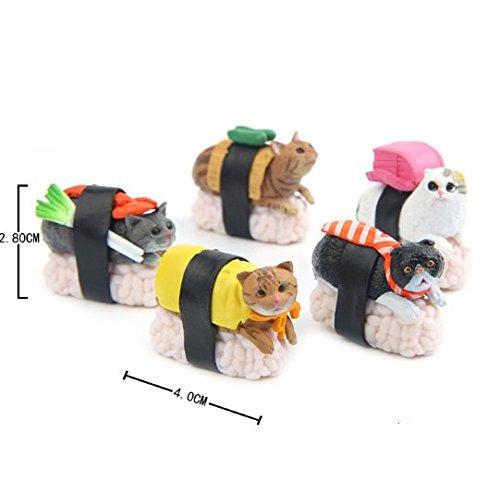 SAMANIS 5pcs/Set 4 cm Mini Sushi Cat Toy Set