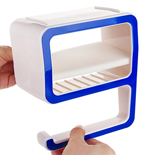 Pixnor Plástico de jabonera caja Rack en forma de número 9 baño organizador (azul)