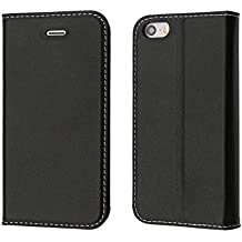 Funda iPhone 5S, Funda iPhone SE, Coodio funda cuero genuino, funda billetera iPhone 5S, carcasa en libro, Ranuras para Tarjetas, Soporte Plegable Para iPhone SE, iPhone 5S, iPhone 5