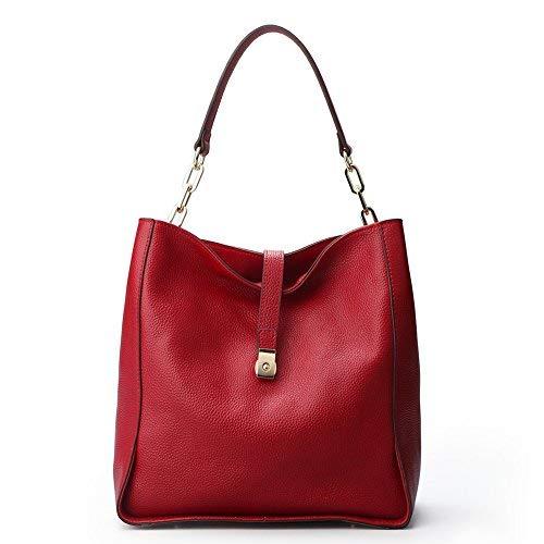 QI WANG Handtaschen Damen Echtes Leder Umhängetasche Designer Taschen Hobo Taschen (wine red) -