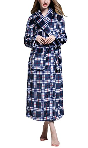 Dolamen Accappatoio per Donna e Uomo, Morbido e leggero vello Pigiama Sleepwear, Robe Accappatoio damigella d'onore da notte Pigiama + Tasche Cintura, per Spa Hotel Blu