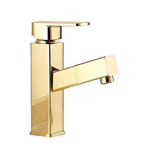 Zeitgenössische Centerset Pullout Spray mit Keramik Ventil einzigen Handgriff Ein Loch Pull Typ Badezimmer Waschbecken Wasserhahn Gold , gold -