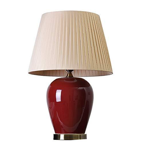 Peaceip Keramische Tischlampe Schlafzimmer Nachttischlampe, Einfache Moderne Rote Melone Glas Dekoration LED Energiesparlampe 20-40 Watt 220 V, Für Wohnzimmer Restaurant (Farbe : Beige Pleated) -