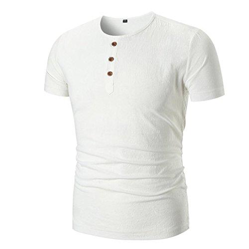 Leinen T-Shirt Solides Rundhals-Shirt mit Rundhalsausschnitt Herren-Shirt GreatestPAK,Weiß,XL