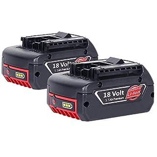 [2 Stück] Dosctt 5500mAh Akku Für Bosch 18V 5.5Ah Lithium-Ionen-Akku Werkzeug Batterie BAT620 BAT621 BAT622 BAT609 BAT618 DDB181-02 Neue Version mit LED-Anzeige