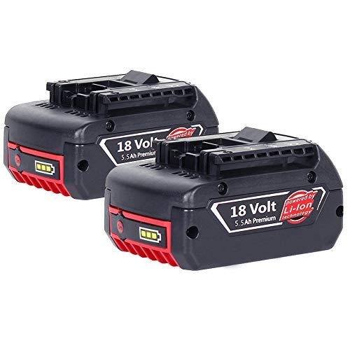 2 X 5500mAh Dosctt Remplacement pour Bosch 18V 5.5 Ah Li-Ion Batterie BAT609 BAT621 BAT609G BAT610G...