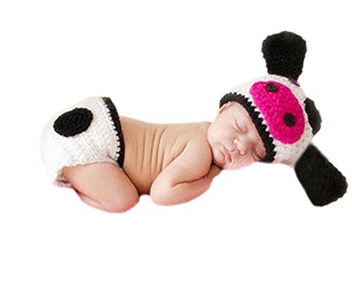 DELEY Neugeborene Baby Häkelarbeit Knit Milch Kühe Hut Hose Set Jungen Mädchen Foto Shooting Requisiten 0-6 Monate