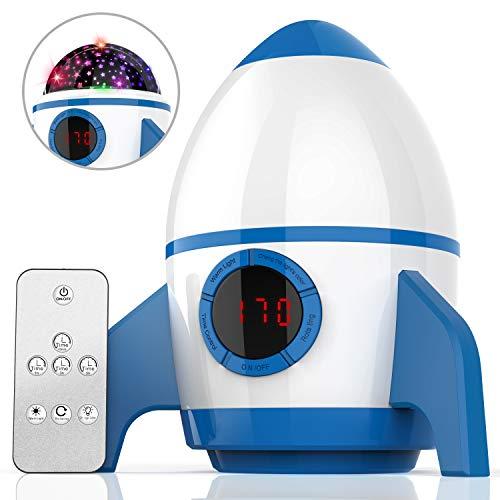 (2019 Neuest) Elecstars Sternenhimmel Projektor, LED Raketenform Baby Lampe mit Fernbedienung Kinder Nachtlicht 360°Rotation und Timing Schlaflicht Geschenke für Kinder/Frauen/Freunde(Blau und Weiß)