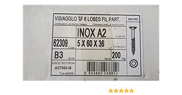 Inox Acton Vis bois t/ête frais/é T25 60//36 mm /Ø 5 mm Bo/îte de 200 pi/èces