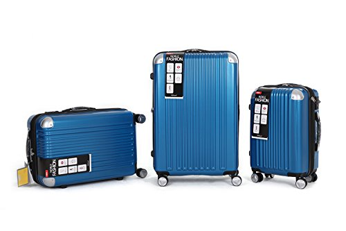 LUXUS 3 TEILIGES TSA KOFFERSET VIVIANA KOFFER TROLLEY HARTSCHALE POLYCARBONAT ABS NEW DESIGN (Blau)
