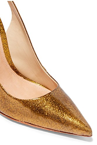 Kolnoo Damen Handgefertigte Schuhe Slingback Pointy High Heel Fashion Party Prom Pumps Gold
