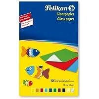 Pelikan 137935 Carta Colorata Lucida Gommata Per Lavori Creativi 10 Fogli - Made In Germany