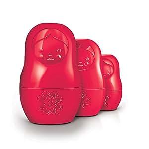 Fred m cup - ensemble de tasses à mesurer matriochka fixés en rouge