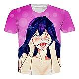 OPCOLV Camiseta de Las Hombreses Camiseta Ahegao Divertida Impresión en 3D por Toda la Camiseta Joggers Hipster Ropa de Calle de Dibujos Animados Ropa