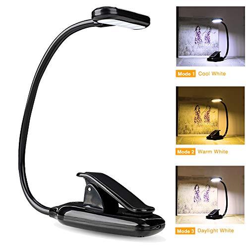 Lampe de Lecture Tactile, 9 LED 3 Modes de Luminosité, Flexible Light, Veilleus de Chevet, avec Câble USB pour Charger, Lumière Clip Portable pour Lecture de Nuit, Travail, Voyage etc