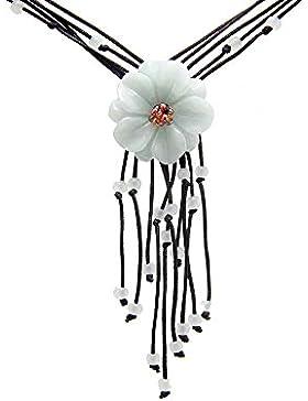 Agathe Creation JCA0152014 Halskette mit Anhänger Blume Jadestein Naturstein (Kategorie