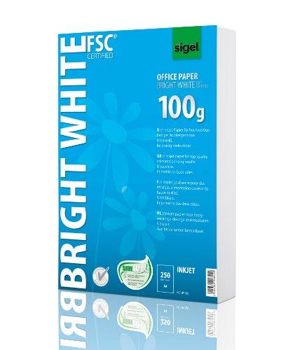 SIGEL IP125 InkJet-Papier A4 ultraweiß, beidseitig bedruckbar, 100 g, 250 Blatt (Laser-inkjet-papier)