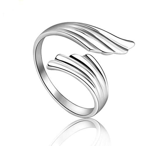 Hddwzh Woman Ring,Frau Ring, 925 Sterling Silber Schmuck Mode Öffnen Ringe Angel Wings Persönlichkeit Weiblichen Ringe
