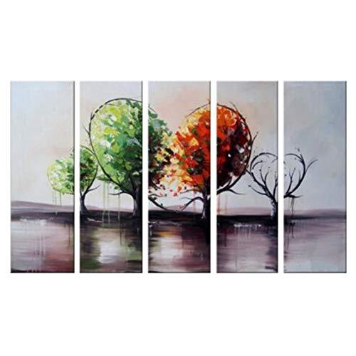kte Landschaftsgemälde auf Segeltuch Moderne Innenarchitektur-große 5-Platten-Herz-geformte Bäume ungerahmt ()