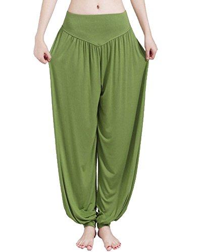 Donne Casuali Gamba Larghi Pantaloni Yoga Danza Sportivi Jogging Trousers Erba Verde