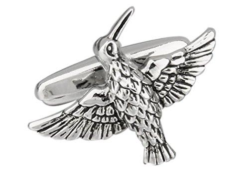 mrcuff Kolibri Vogel FLYING Paar Manschettenknöpfe in einer Geschenkbox und Reinigungstuch -