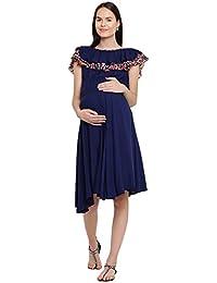 Mine4Nine Women's Rayon Maternity Midi Dress (Navy, MNDR5801)