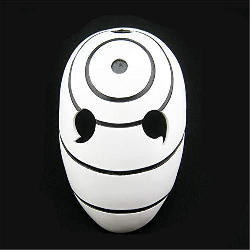 VAWAA Japanische Naruto Obito Anime Harz Maske Uchiha Madara 3 Augen Realistische Weiße Masken Halloween Karneval Kostüm (Madara Uchiha Kostüm)
