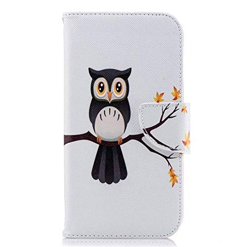 Uposao Handyhülle für Huawei P20 Handytasche Leder Brieftasche Ledertasche Lederhülle Retro Muster Leder Wallet Klapphülle Flip Case Cover Kartenfächer Standfunktion,Schwarz Eule