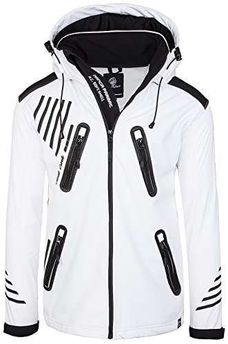 Rock Creek Herren Softshell Jacke Outdoorjacke Windbreaker Übergangs Jacke H-140 [White S] - 2