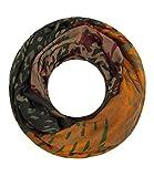 Majea Damen Loop Schal viele Farben tolle Muster Schlauchschal Halstücher (olive 20)