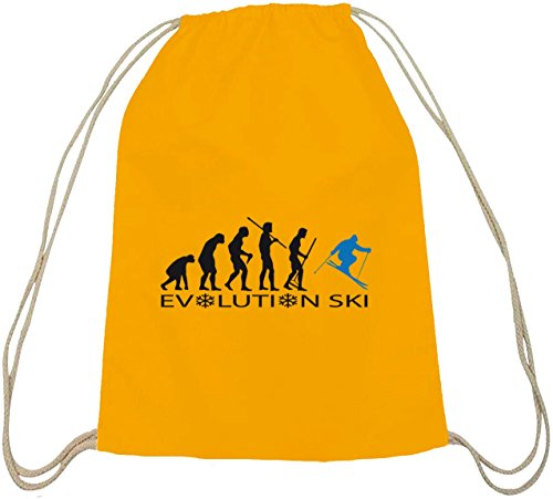 ShirtStreet, EVOLUTION SKI 2.0,Wintersport Après Ski Baumwoll natur Turnbeutel Rucksack Sport Beutel gelb natur