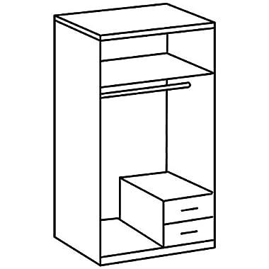 Wimex Kleiderschrank/ Drehtürenschrank Skate, 2 Türen, 2 Schubladem, 1 Spiegel, (B/H/T) 90 x 197 x 58 cm, Weiß/ Absetzung Anthrazit