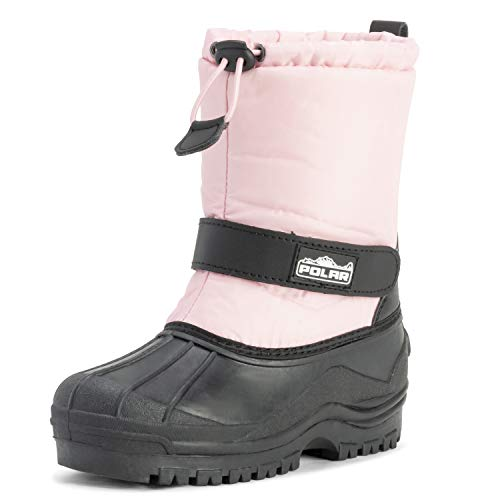 Unisex Kids Pull On Drawstring Closure Nylon Winter Snow Rain Boots