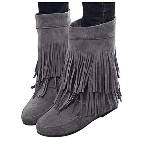 Felicove Mit Fransen versehene Stiefel Damenmode Erhöhte Flache Keile Kurze Stiefel Wildlederstiefel