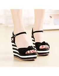 Verano pendiente de rayas en blanco y negro con impermeable Taiwán arco de tejer zapatos ( Color : Negro , Tamaño : 38 )