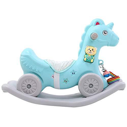 ZLMI Silla Mecedora para bebés, Silla Mecedora para niños Rocking Horse Yo-Yo Carrito de Doble Uso para Entrenamiento de Equilibrio de Scooter de plástico Grueso, Regalo de cumpleaños con música