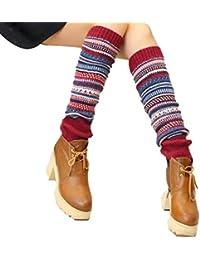 Uojack Calentadores de piernas de invierno Mujer Calcetines largos Botas de punto Medias Medias de liga
