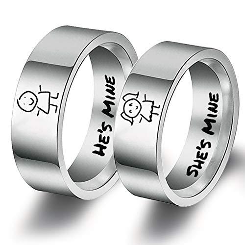 Bishilin 2Pcs Edelstahlringe für Ihn und Sie Eherring Paarepreise mit Gravur He's Mine She's Mine Verlobungsringe Paar Silber Damen Gr.54 (17.2) + Herren Gr.52 (16.6)