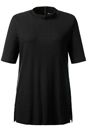 Ulla Popken Damen T-Shirt Halbarmshirt, Rippe Blau (dunkelblau 70)