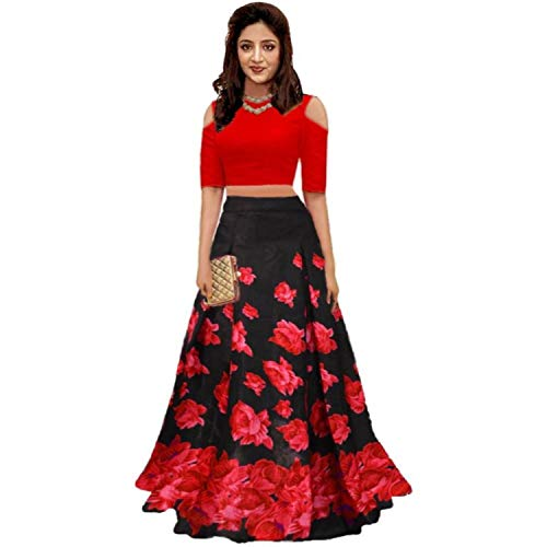 Nena Fashion women\'s Satin Silk Party Wear lehengha choli-red