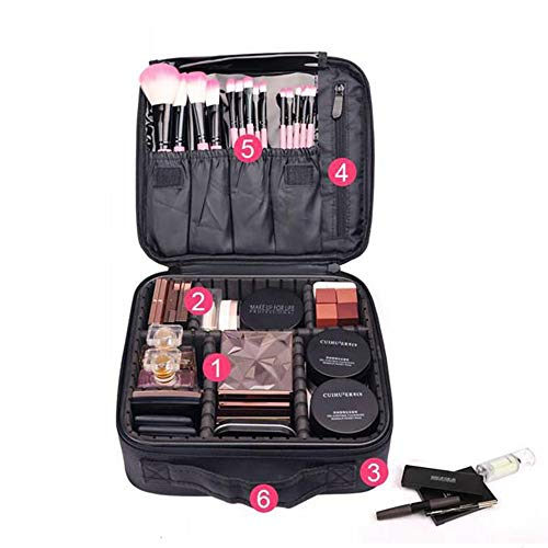 Étui de train de maquillage cosmétique avec porte-pinceau - Organisateur de maquillage cosmétique portable pour sac de maquillage imperméable pour femmes, Étui de toilette avec séparateurs ajustables
