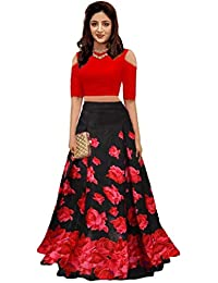 Nena Fashion Satin Saree With Blouse Piece (NF_Black rose Red!_Red_Free Size)