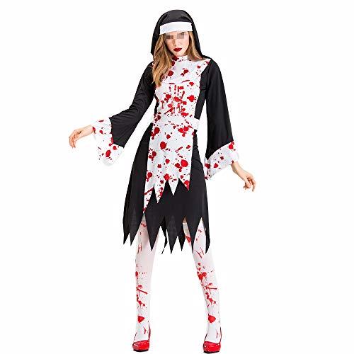 Chengzuoqing-CL Halloween Damenkostüme Kostüm Schwester Kostüm Priester Zombie Uniform Cosplay Bühnenkostüm Halloween Black Zombie Party anziehen (Farbe : Schwarz, Größe : - Zombie Wanderer Kostüm