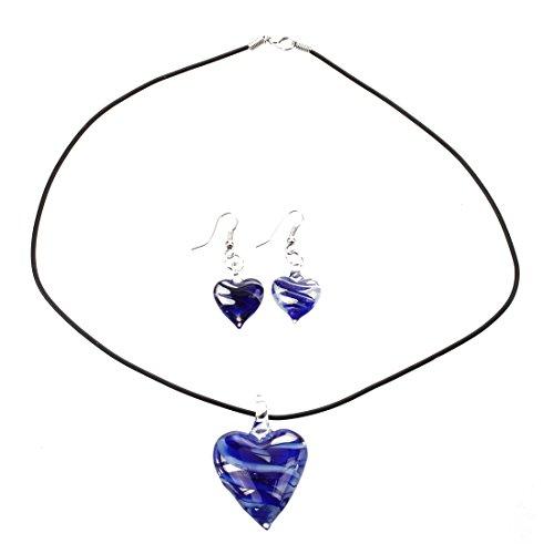 SODIAL(R) Conjunto de Cristal Murano collar + Pendiente